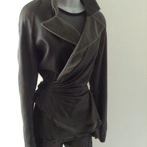 Olive Green Leather Satin peplum Style wrap jacket